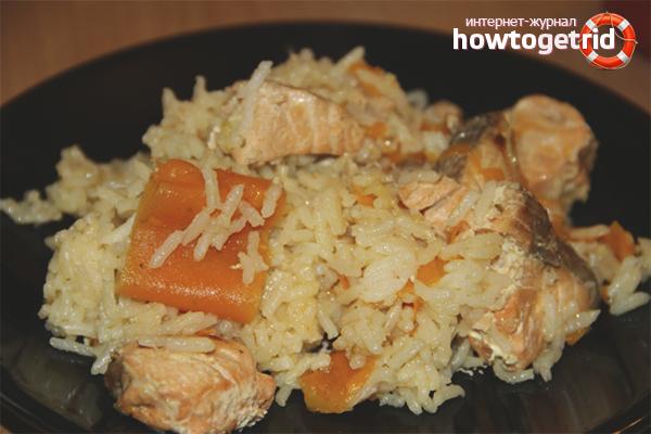 Långsam kokt fisk pilaf