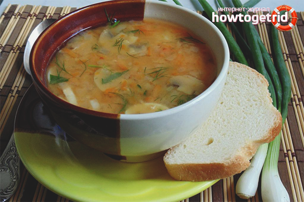 Sopa de pèsols amb bolets