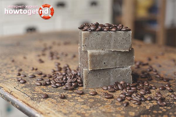Peeling-Seife auf Kaffeebasis