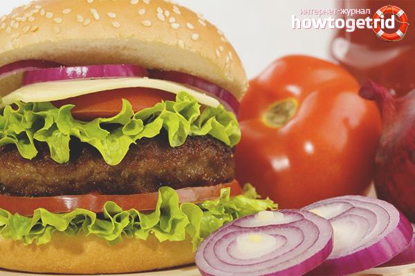 Cheeseburger mit gebackenem Gemüse