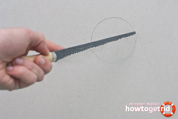 Kā sagriezt apli drywall
