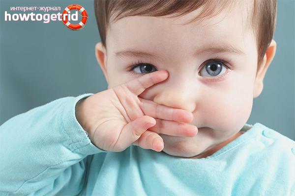 Kā ārstēt mazuļa degunu ar zaļu puņķi