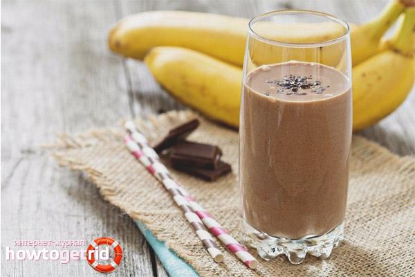 Smoothie de ciocolată cu banane