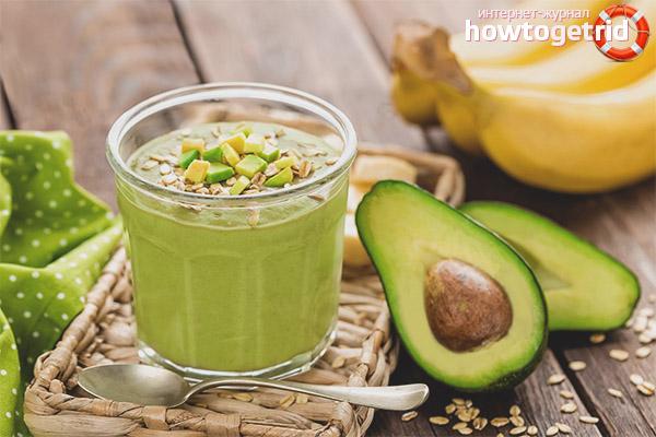 Merkmale der Herstellung von Avocado-Smoothie