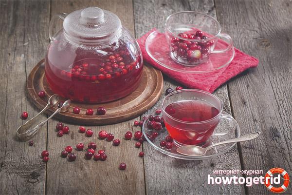 Dzērveņu novārījumi un tējas